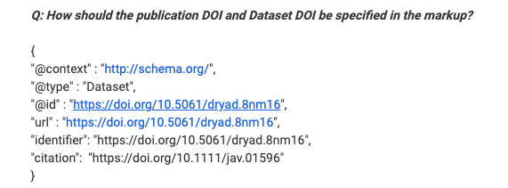 An example of the schema for making datasets discoverable in Google Dataset search